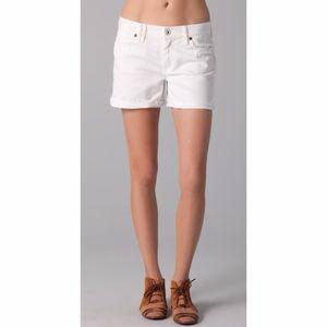 Madwell White Denim Raw Hem Shorts
